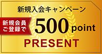 新規入会キャンペーン500ポイントプレゼント